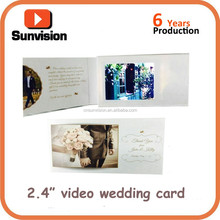 2016 best price handmade greeting video weeding invitation cards 2.4 inch LCD display digital weeding paper cards