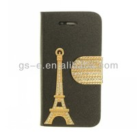 Luxury Diamond Eiffel Tower Leather Case for iPhone4/4s 5/5s 5C with Stand TV Function & Card Slots