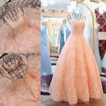 Straps Appliques Beading Floor-Length Puffy Princess Ball Gown Lace Blush Pink Prom Dress CWFp2258