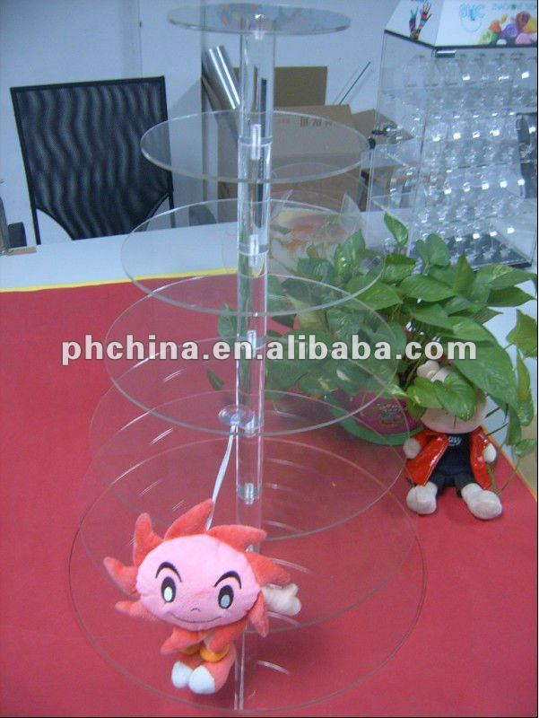 MA838 7 Tiers 5mm Thick Round Maypole Clear Acrylic Wedding Party Fairy Cupcake Display Stand; Acrylic Cupcake Stand