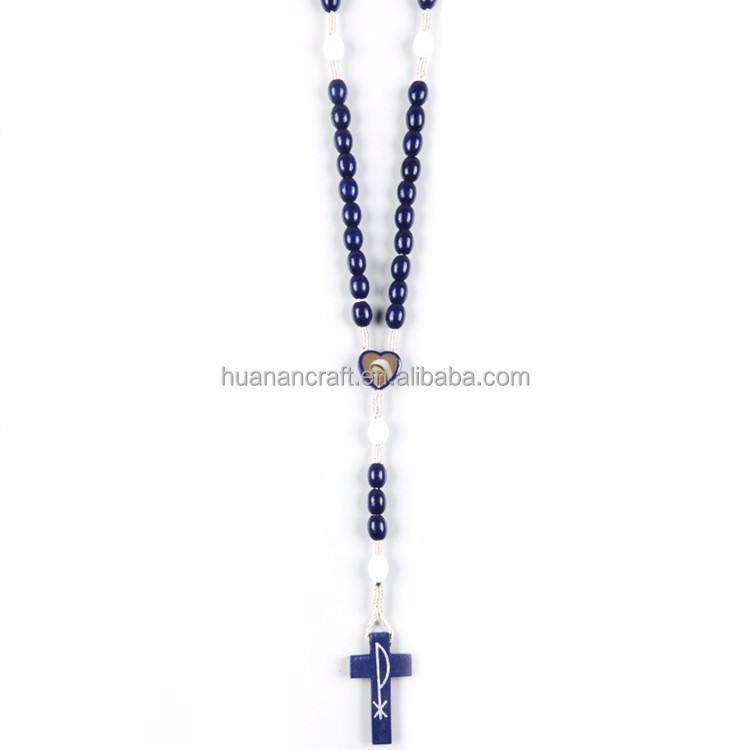 Acceptable Custom european style jesus religious blue wooden rosary blue
