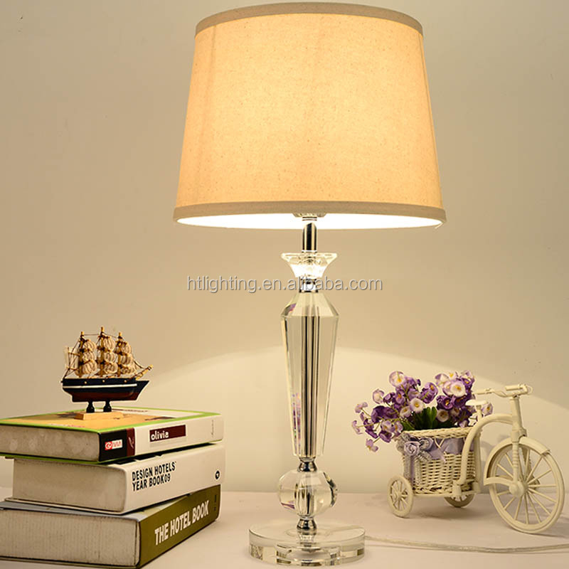 Modern fabric lampshade E27 crystal led table lamp for Bedroom Decorating
