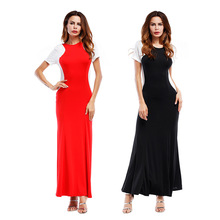 Slim fit design ladies summer casual cut and sew long sleeve women maxi dress