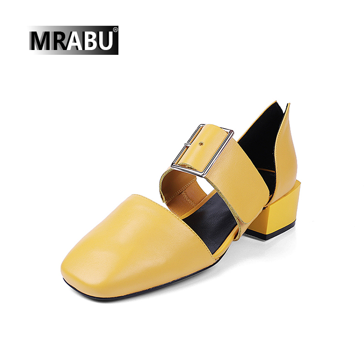 MRABU Heels 2017 online shoes Square toe Buckle strap decoration punjabi jutti photos sandals shoes women
