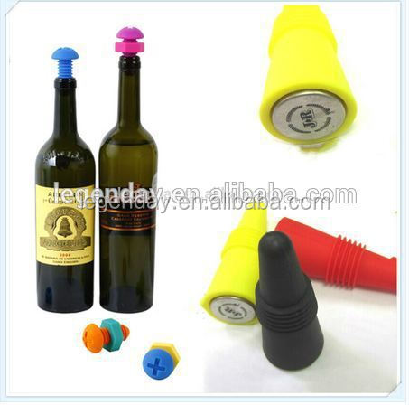 2015 novelty FDA approved reusable silicone wine bottle cork stopper