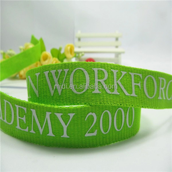 2cm Green color Word print polyester belt ribbon