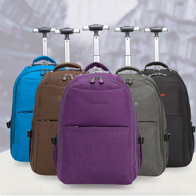 New design nylon luggage trolley bag wheeled laptop backpack bag