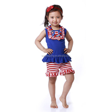 Howell summer blue white and red ruffle tank top and short July 4th children clothes