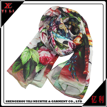 Women latest design cheap soft printed turkey silk scarf