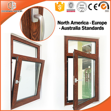 America, Europe Standard anti-theft screen and hidden 3D red oak wood grain finishing aluminum tilt and turn window
