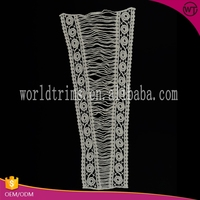 Guangzhou factory machine made raw white lace embroidery designs collar