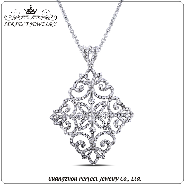 Guangzhou factory direct sale 925 sterling silver jewelry micro pave AAA zirconia ladies pendant