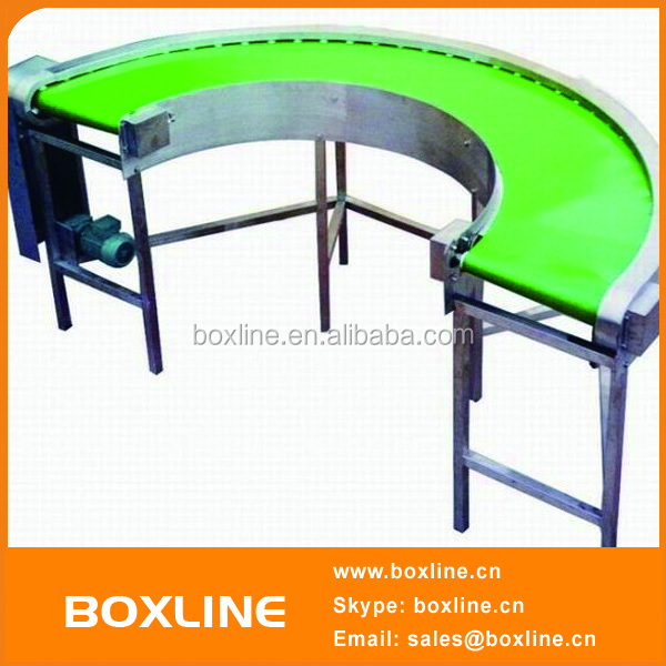 Stainless steel belt 180 degree curve/turn conveyor
