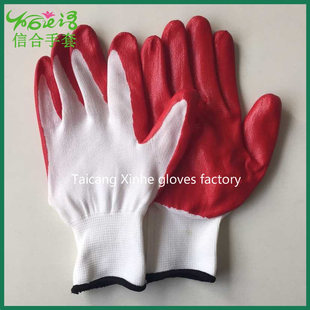 XINHE 13 gauge nitrle gloves outdoor protective nitrile coated polyester garden working gloves