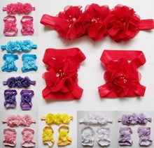 Modern style baby photo props Hot Colorful Foot Flower Barefoot Sandals + Headband Set for Baby Infants Girls hair accessories