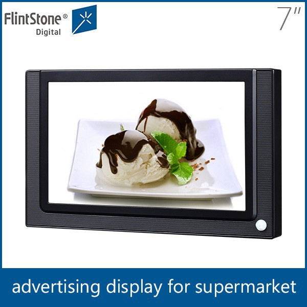 Flintstone 7 inch lcd small screen for advertising motion activated in-store video display 7 inch motion activated audio player