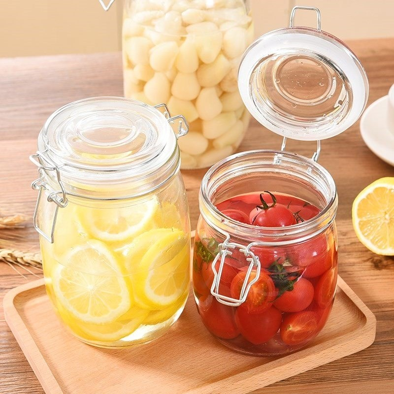 750ML airtight glass jars food container / glass jar with sealing top lid