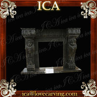 Brown Stone Fireplace Mantel Black Granlte
