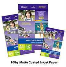 108g Matte Coated inkject Photo Paper,waterproof