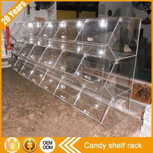 Wholesale customized high quality free standing large assembled 3 shelves clear holder transparent acrylic display candy shelf