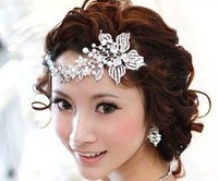 2015 Fashion pearl silver bridal tiara and crown for wedding bridal hair jewelry accessories
