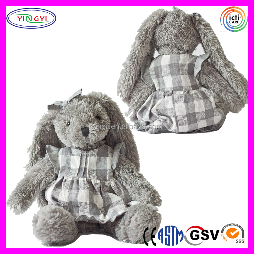 A296 Grey Plush Big Long Ear Stuffed Soft Rabbit Stuffed Toy with Clothes