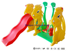 Bunny plastic slide and swing playsets children playground garden toys