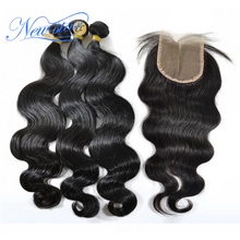 8a brazilian unprocessed new star virgin body wave hair extension and one closure 4*4 lace with PU middle part