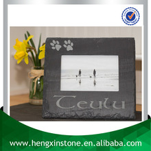 Factory Direct Sales 23*21cm Handmade Decorative Natural Customized Laser Design Heart Shape Slate Bulk Picture Frames