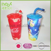 Cute 8 oz Plastic Straw Cup, Decorative Hard Plastic Cups with Straws