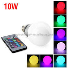 Factory low price AC 85-265V 10W E27 RGB LED Bulb with Remote Control