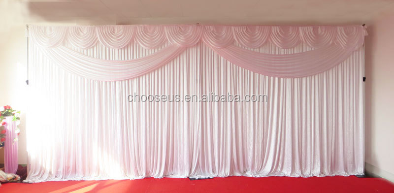 Elegant Pink ice silk 3x9m wedding back drop with colorful fatastic and romantic swag