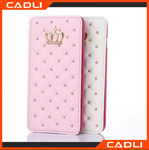 Diamond bling crown wallet custom flip case 3d phone case for iphone 6 plus case