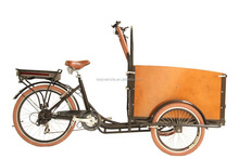 Danish market electrische bakfiets wooden box 3 wheel electric bicycle vending carts