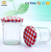 clear polygon shape glass container with Checkered Lid