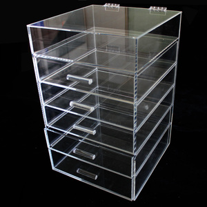 wholesale Plastic custom Beautify Extra Large 6 Tier Clear Acrylic Cosmetic Makeup Storage Cube Organizer with 5 Drawers