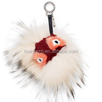 Black leather wallet Pom Pom real fur monster doll keychain charm golf cart bag pendant strap