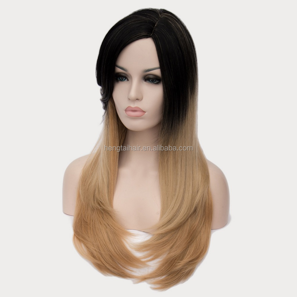 "Ombre Wig Black To Light Brown 26"" Full Head Synthetic Hair Celebrity Two-Tone Female Elegant Long Straight Synthetic Wigs"
