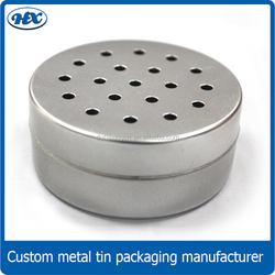 Spice storage tin case/round kitchen tin can with aperture