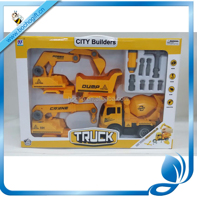 4 in 1 plastic <strong>friction</strong> toy diy assemble building truck toy