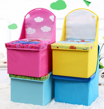 home storage colorful kids cube ottoman polyester kids toy folding storage stool with backrest