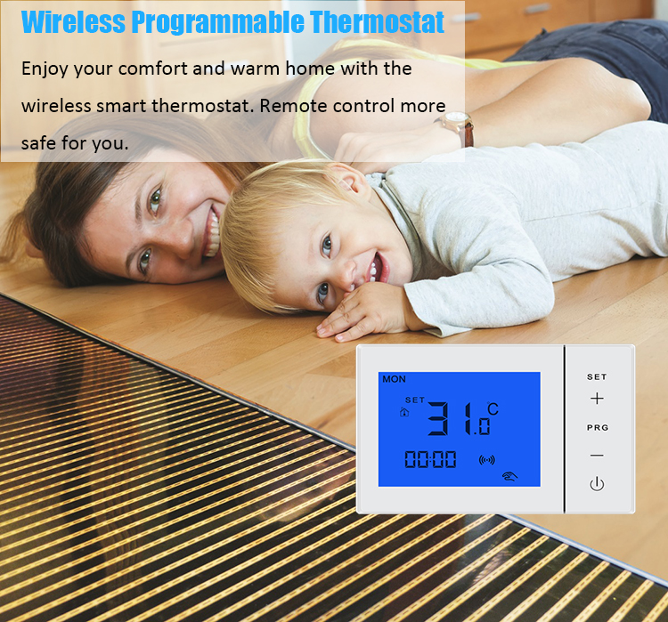 16A Programmable Radiant Electric Heating Room Thermostat Digital with Receiver
