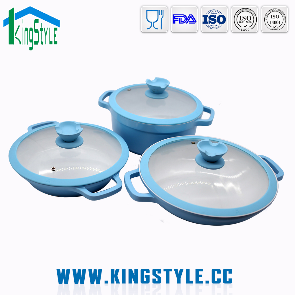 Kitchen accessory 3pcs free die cast aluminum cookware set