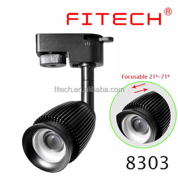 3W cob led track light with zoom focus adjusable single/3 phase europe track