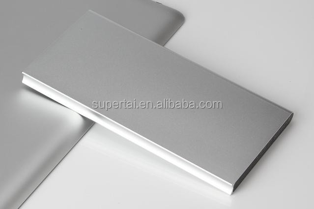 ultra thin power bank 10000mah with dual usb output and led light