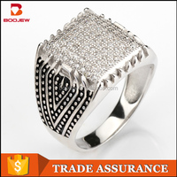 Wholesale classic design black craft square shape mirco paving setting boojew silver men ring jewelry