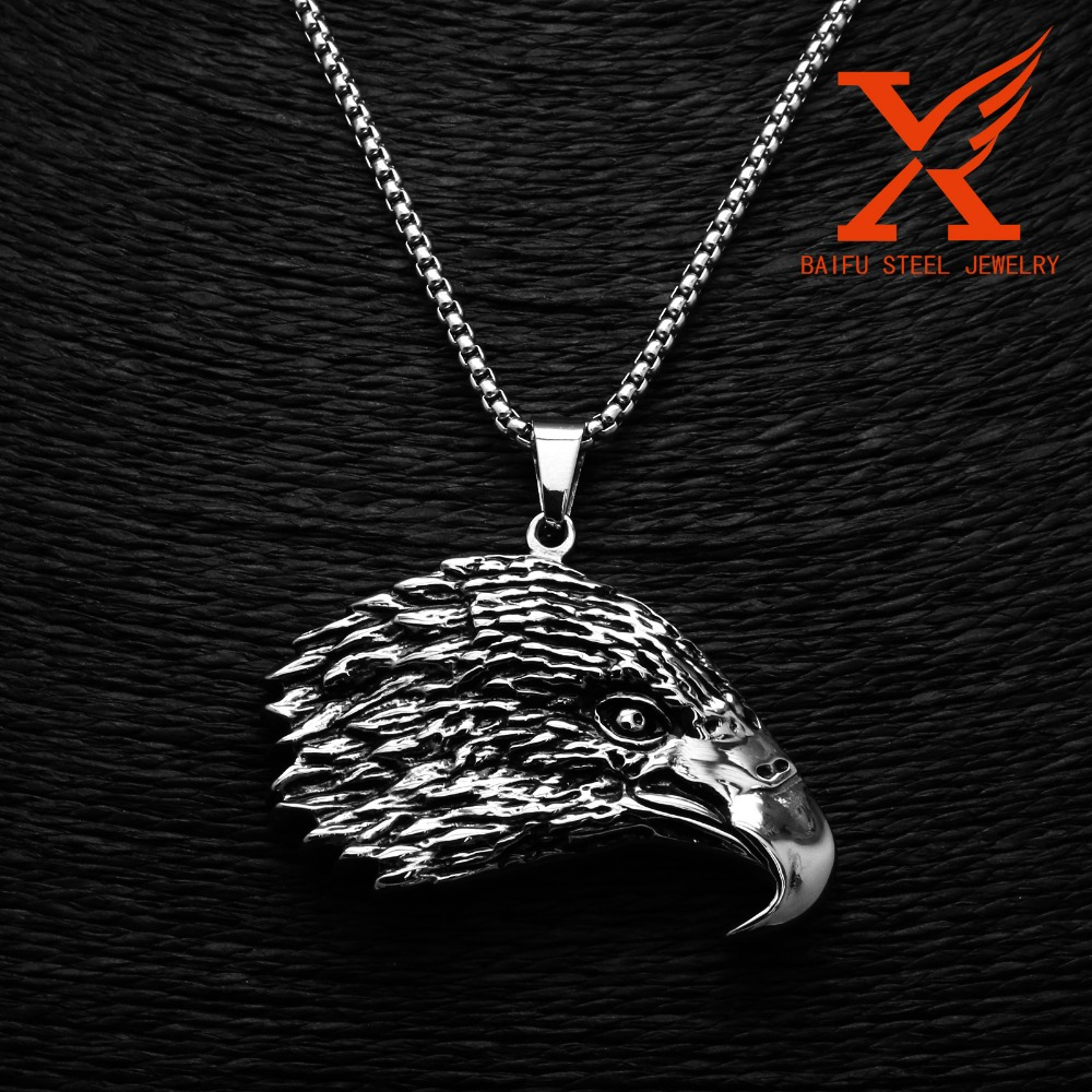 2016 Mens Party Stainless steel Eagle Head Silver charm Jewelry Blanks