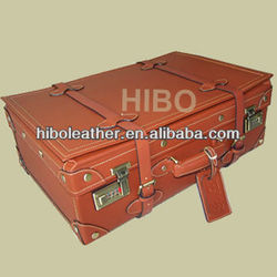 HIBO Genuine Leather Decent Unique Vintage Travel luggage