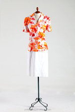 Floral printed white and orange latest suit styles for gentle women Ladies corporate uniform