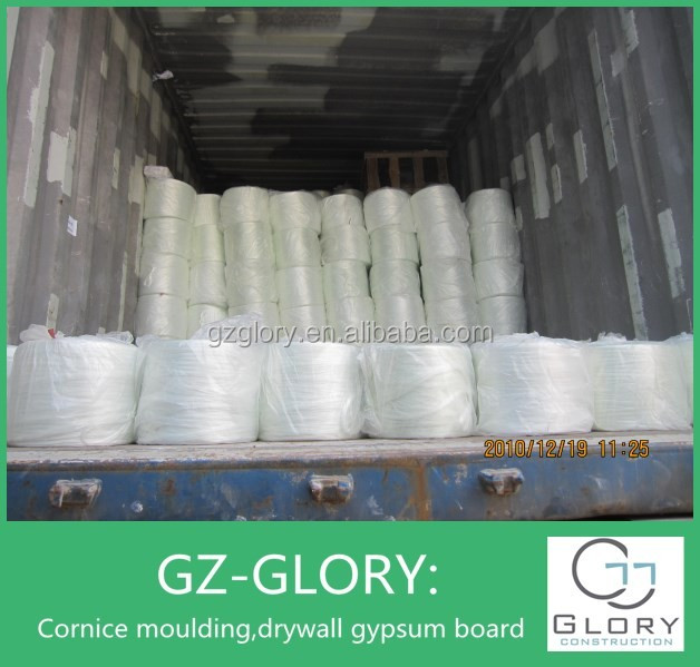 Alkali free/resistant fiber glass spray up rovings for gypsum cornice